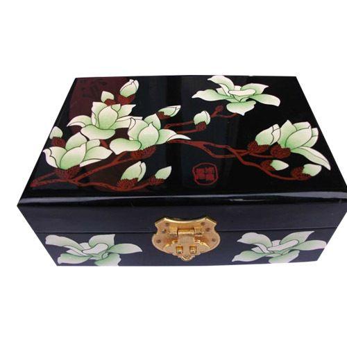 Lakwerk zwarte bloem kisten, armband ring oorbel houten kisten, verjaardag herinnering opbergdoos, volkskunst groothandel
