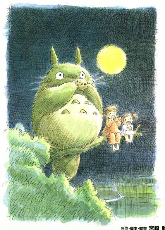 Totoro, Satsuki et Mei sur un arbre, j'adore Miyazaki