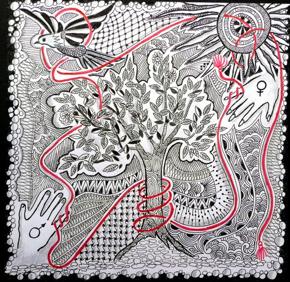 """An invisible red thread connects those who are destined to meet regardless of time, place or circumstance. The thread may stretch or tangle, but it will never break."" Chinese proverb . My response to Zentangle Challenge # 49 at iamthedivaczt.blo..."