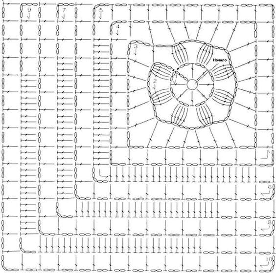 Шаль из квадратных мотивов с асимметричным рисунком: