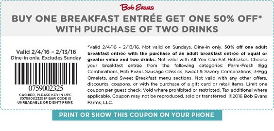 Saving 4 A Sunny Day: 1/2 Off Breakfast At Bob Evans