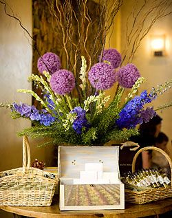 Purple and Blue Hydrangea Centerpiece with Branches