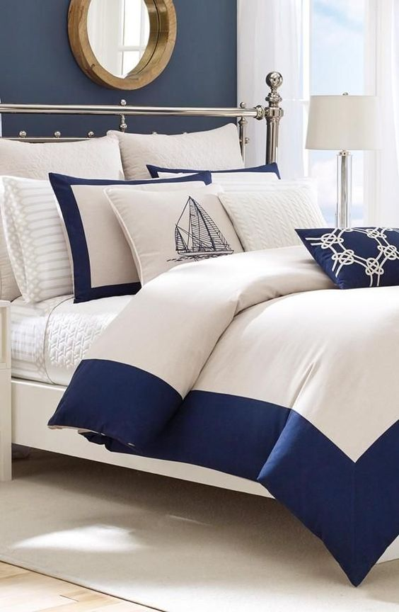 Nautical Vibes For The Bedroom White And Navy Nautica Bedding Nautical Vibes Pinterest