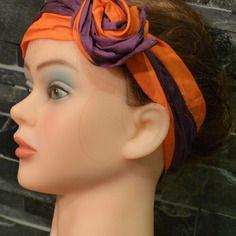 Bandeaux bi color pour  cheveux composé d'un bandeau orange et d'un bandeau violine - fil de fer