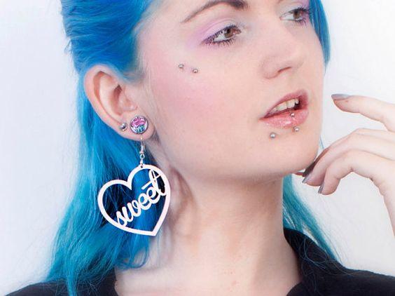 Acrylic Heart Earrings: SWEETHEART Baby Pink Laser Cut Acrylic Heart Stencil Earrings