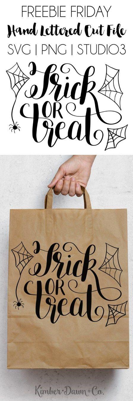 FREEBIE FRIDAY! Hand Lettered Trick or Treat Free SVG Cut File + PNG & .Studio3   KimberDawnCo.com