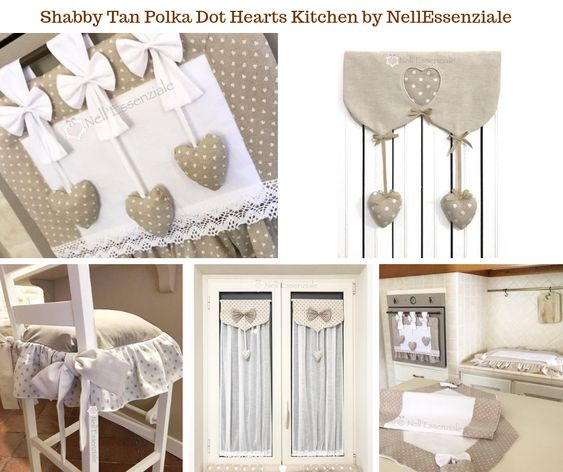 Shabby Tan Polka Dot Hearts Kitchen by NellEssenziale