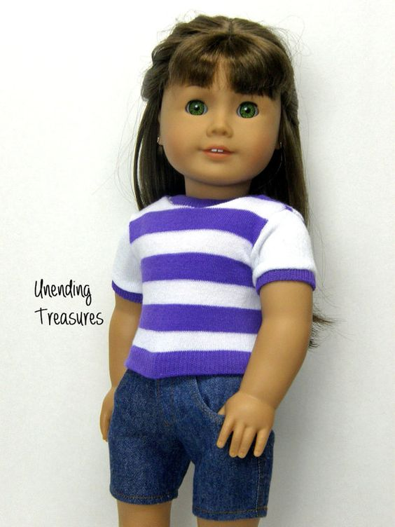 18 inch doll clothes AG doll clothes girl doll clothes white and purple striped top and jean shorts
