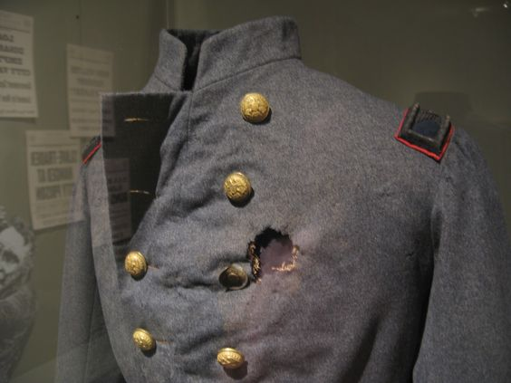 Col. Elmer Ellsworth's bullet torn frock coat of the 11th Zouaves- Lincoln's friend and the first fatality of the war.