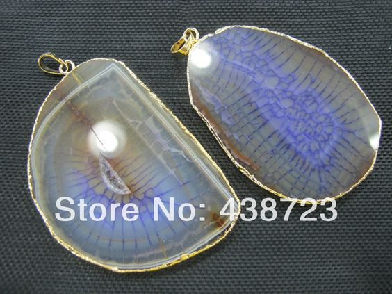 New arrived High quality Natural Agate Power Gemstone pendant Cracked agate Slice Pendant 5pcs/lot $29.50