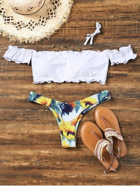 960d9d37409c2 Sunflower Off Shoulder Lettuce Hem Bikini