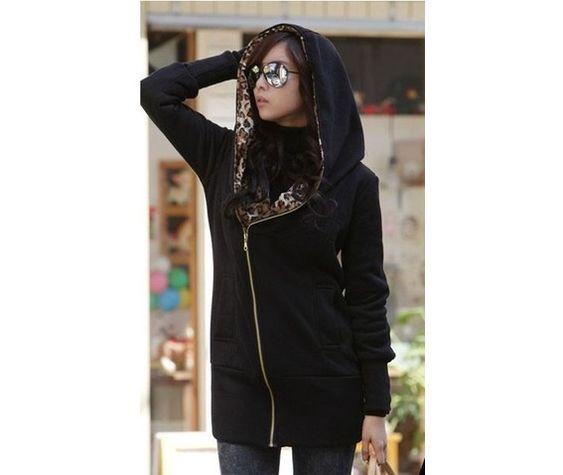 New slim fit leopard print black hoodie hoodies 5