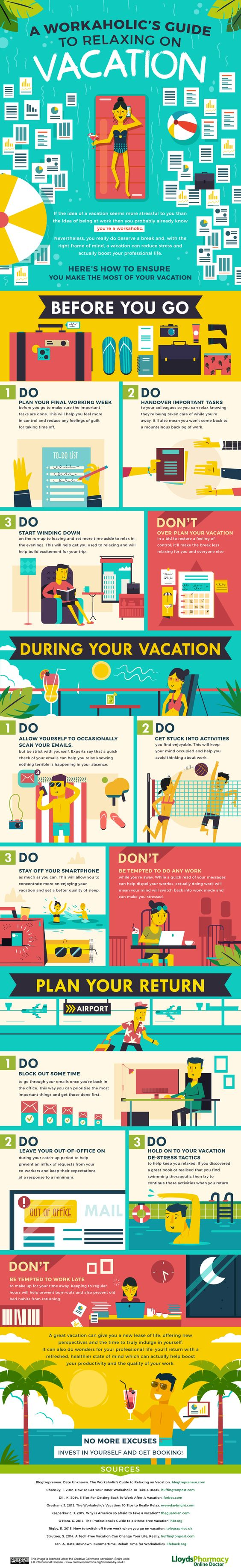 Great tips to avoid thinking about work on your next vacay!  #workaholic #vacation #elax: