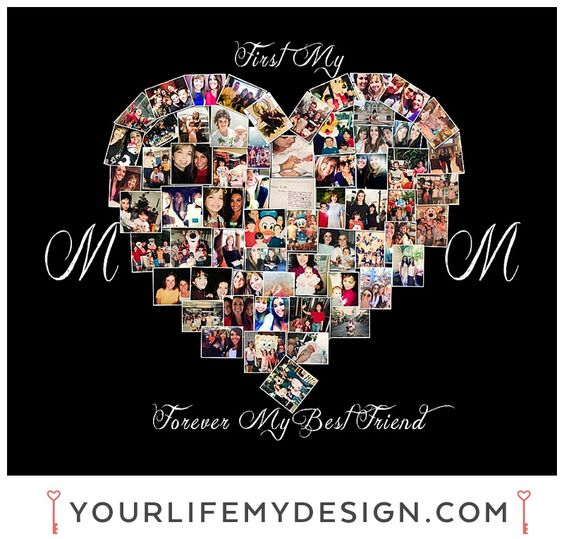 Mother's Day gift idea, mother's day gifts, Photo collage, Heart collage, Personalized art by Your Life, My Design www.yourlifemydesign.etsy.com: