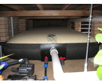 """The only bladder tank solution supplied in a steel frame with pipe work fixed via a steel mounting plate...."""" The eco sac® water bladder tank  is the preferred water bladder solution of architects, designers and hydraulic engineers - and it is the best under house and under deck water storage solution for you. It stores more water per square metre than any other bladder tank; it has the largest range of standard sizes available in the market.:"""