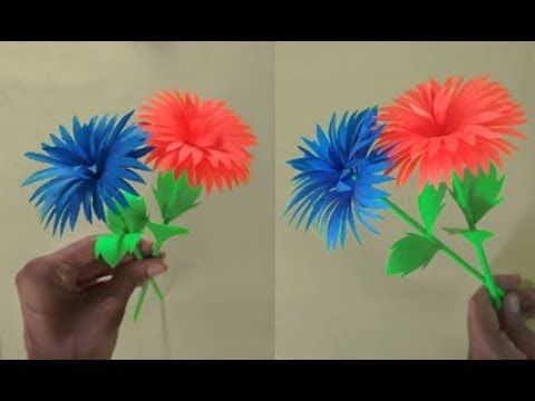 Paper Flower Stick Youtube Paper Flowers Paper Origami