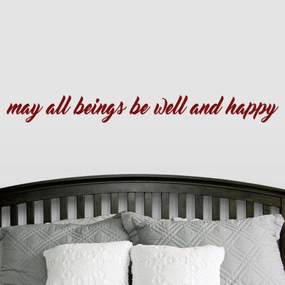 """SweetumsWallDecals """"May All Beings Be Well and Happy"""" Wall Decal Color: Cranberry"""