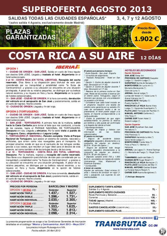 COSTA RICA a su aire / 12 días ¡Superoferta Plazas Garantizadas: 3 a 12 Agosto!! precio desde 1.902€ - http://zocotours.com/costa-rica-a-su-aire-12-dias-superoferta-plazas-garantizadas-3-a-12-agosto-precio-desde-1-902e/