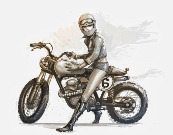 Девушка на мотоцикле карандашом фото 448-186