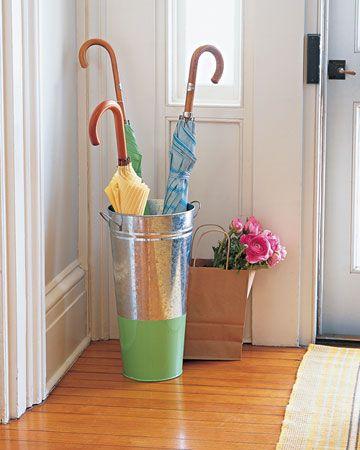 Flower bucket into umbrella stand