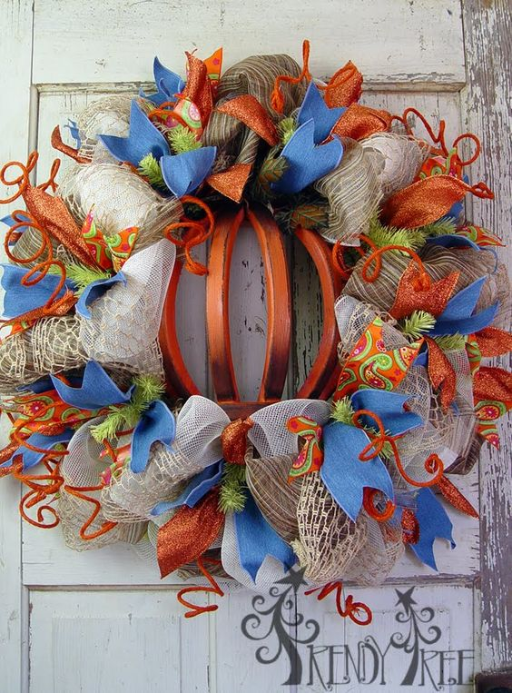 Autumn Pumpkin Wreath Tutorial Visit The Trendy Tree