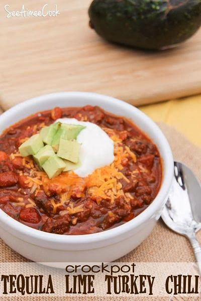 Crockpot Tequila Lime Turkey Chili | See Aimee Cook: