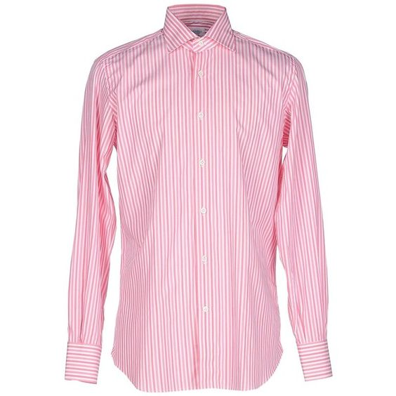 Mazzarelli Shirt ($147) ❤ liked on Polyvore featuring men's fashion, men's clothing, men's shirts, men's casual shirts, light purple, mens striped long sleeve shirt, mens lavender dress shirt, mens longsleeve shirts, mens stripe shirts and mens striped shirt