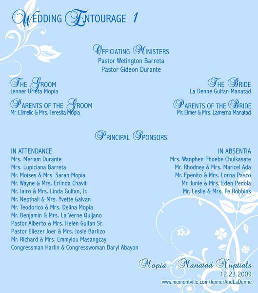 wedding entourage template