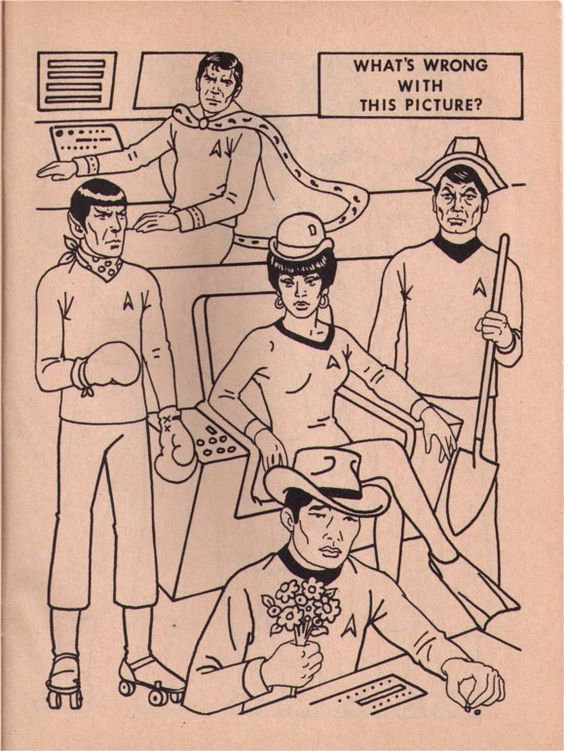 What's wrong with this picture? (from vintage Star Trek coloring book)