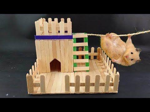 Diy Mini Hamster House From Popsicle Sticks Simple And Easy Youtube In 2020 Hamster House Diy Hamster House Hamster Diy