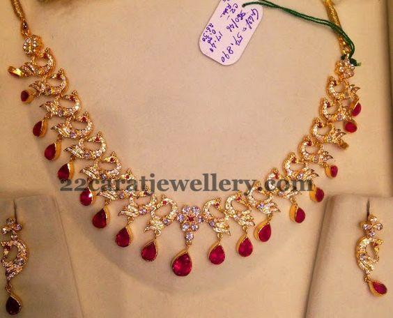 Jewellery Designs: Dancing Peacocks CZ Necklace