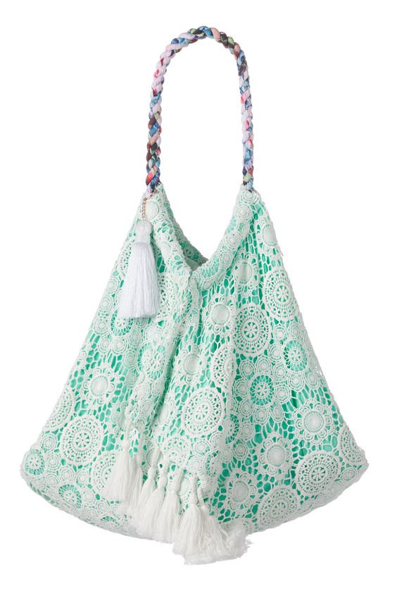 cute mint overlay beach bag