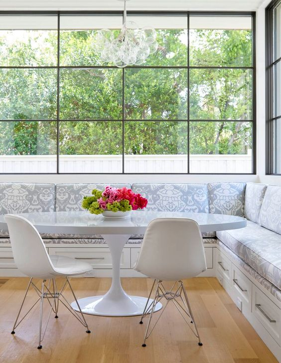the wide-pane single-hung windows, banquette, table and chairs..... all of it.  CONTEMPORARY WHIMSY - Collins Interiors