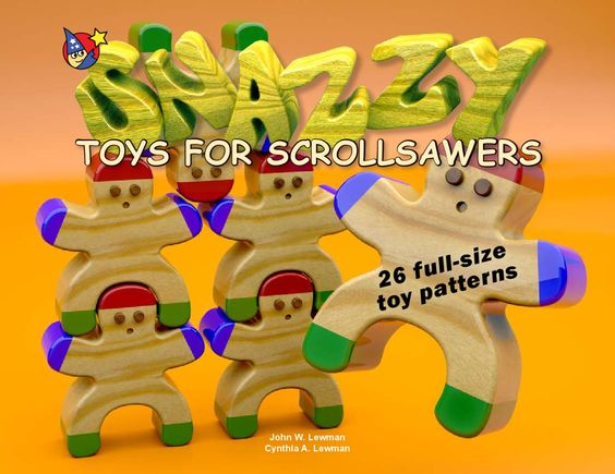 Snazzy Toys For Scrollsawers  In Snazzy Toys for Scrollsawers you'll love choosing from 26 unique full-size toy patterns to build fun, easy-to-make  original wood snazzy and fun toys. These quick to build toys make great gifts or fun giveaways to family or friends.  They'd even be great as party favors! Mix 'em up or make multiples of one toy. Either way, kids or the kid in you and  your friends will be delighted when they receive a snazzy toy! The toy plans in Snazzy Toys also are perfect…