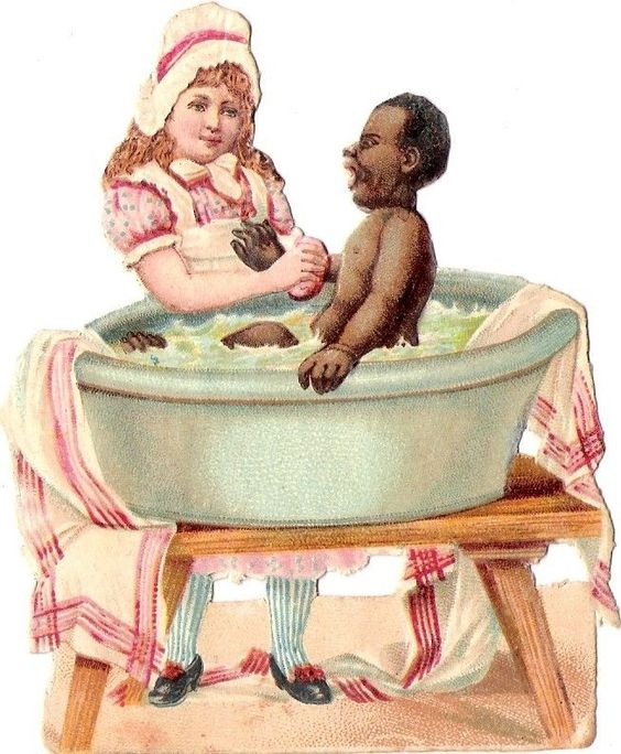Oblaten Glanzbild scrap die cut chromo Kind black child girl bath baden Mädchen: