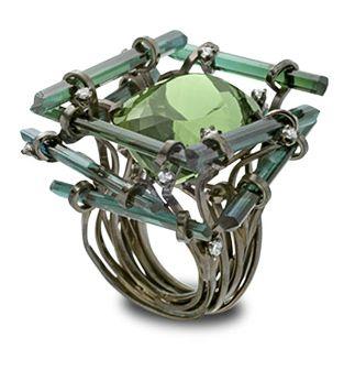 Bague, or noir, diamants, tourmalines, Jean-Christophe