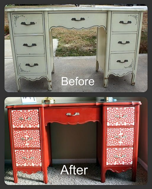 """Kelby M. with her spray paint story!  image   """"I like my desk! This worked great but make sure the fabric isn't too thick or the drawers won't open and close! I used red spray paint and lace doilies for the front design. I love how it turned out!"""" Red spray paint available in our """"Fresh N Quick"""" line. Available at: www.seymourpaint.com/fresh_n_quick.html"""