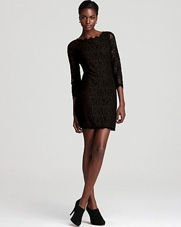 DIANE von FURSTENBERG Lace Dress - Zarita | Bloomingdale's  Can you say litlle black dress?  I love it!