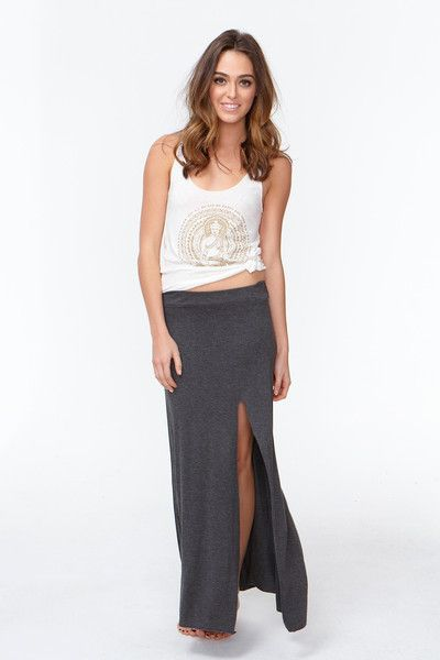 SIDE SLIT MAXI SKIRT CHARCOAL GREY | Active Gear | Pinterest ...