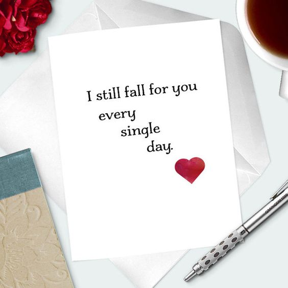 Romantic Valentines Day Card For Wife I Still Fall by inkanddolly