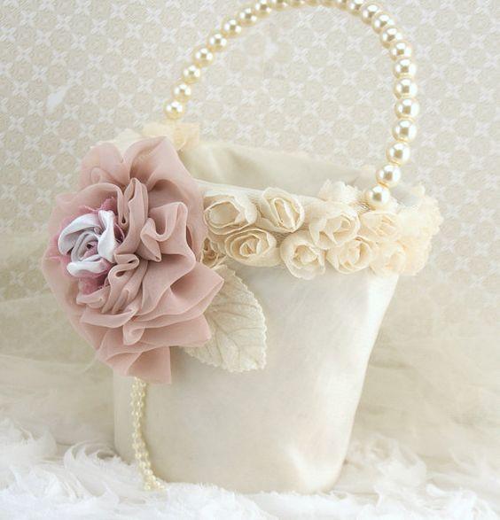 Flower Girl Basket Wedding Pearl Basket  in Ivory and by SolBijou, $95.00