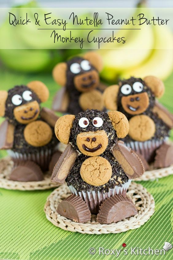 Quick & Easy Nutella Peanut Butter Monkey Cupcakes   Roxy's Kitchen – 3-ingredient cupcakes, easiest frosting ever and so easy to decorate with your kids!
