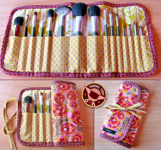 DIY makeup brush case. Found via: http://houseofpinheiro.blogspot.com/2012/12/girl-must-have-floral-and-pokadot-make.html