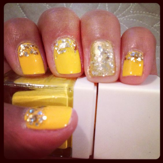 Yellow glitter nails! - would pick a lighter, softer yellow