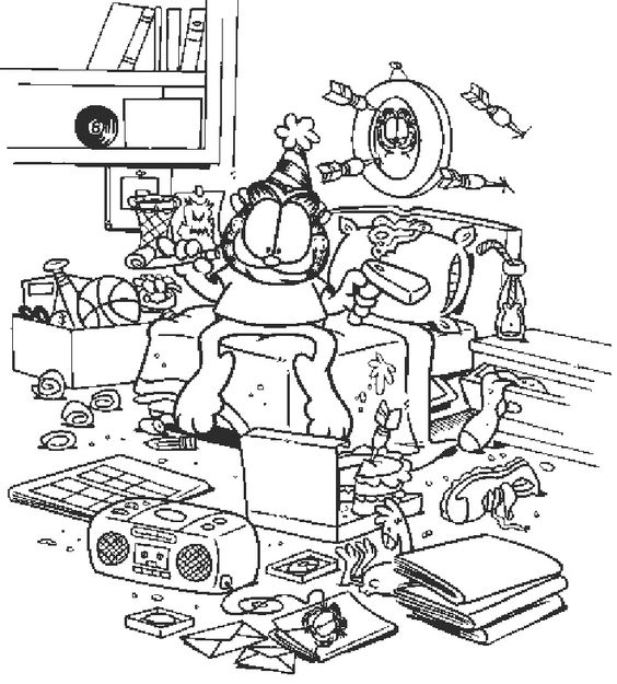 Garfield Coloring Pages Pdf : Garfield messy bedroom coloring page pages