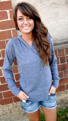 Gorgeous rich brown wavy hair with long side bags. Add a Slate Gray Hoodie and Im in love!