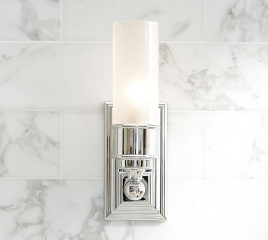 """Sussex Tube Sconce #potterybarn Master.  40 watt but good price.  Only 4"""" backplate"""