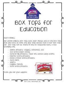 Box Tops Parents Letter