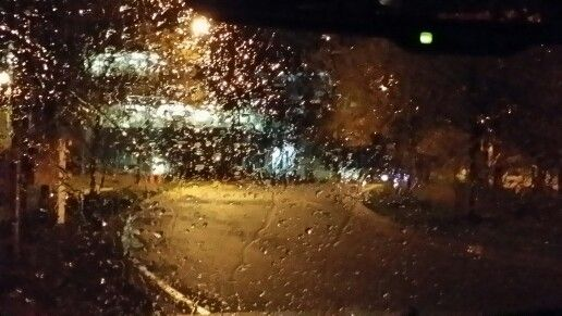 Peaceful and rainy night at work.