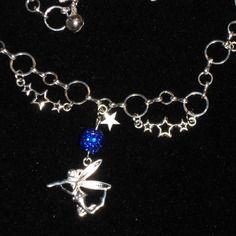 Sautoir bleu féérique: fée et clochettes